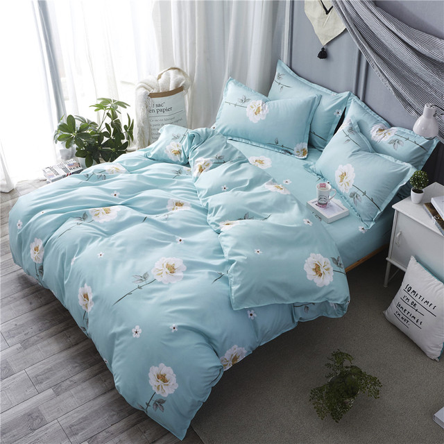 White flower bedding set 34pcs flat sheet pillowcase blue duvet white flower bedding set 34pcs flat sheet pillowcase blue duvet cover set ab side mightylinksfo