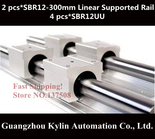 Best Price! 2 pcs SBR12 300mm linear bearing supported rails+4 pcs SBR12UU bearing blocks for CNC best price 5pin cable for outdoor printer