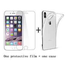 for iphone 7 8 6s 5s glass screen protector Case for iphone XS X 7 6 8 plus Case Clear TPU soft Silicone SE 5c glass+Case