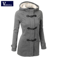 Autumn Hooded Horn Button Coat Women Winter Parkas Sport Grey Outwear 2015 New Fashion Long Women