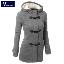 Women Causal Coat 2018 New Spring Autumn Women s Overcoat Female Hooded Coat Zipper Horn Button