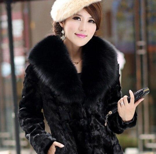 2019 Plus Taille De Col Fourrure Vison Hiver Femmes La Aw325 Vetement Avec Outwear Mince Manteau Faux Bordure Moelleux En r6nqawr5
