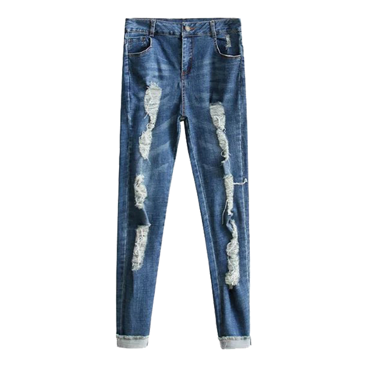 ФОТО In the spring of 2017 new European style fashion jeans all-match female hole super elastic slim slim pants