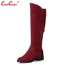 Women Real Genuine Leather Low Heel Knee Boots New Fashion Round Toe Tassel Botas Warm Winter Footwear Shoes Size 33-46 N00187