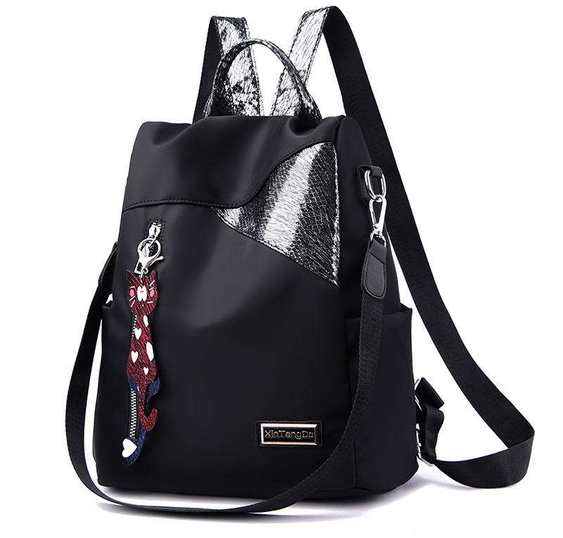 HTB17l40MmzqK1RjSZFHq6z3CpXaK Simple style ladies backpack anti-theft Oxford cloth tarpaulin stitching sequins juvenile college bag purse Bagpack Mochila