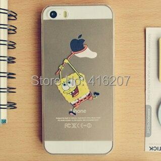 iphone5 5s 4 4s cases Transparent Spongebob squarepants Grasp LOGO cell phone - Super cheap, More click here! store
