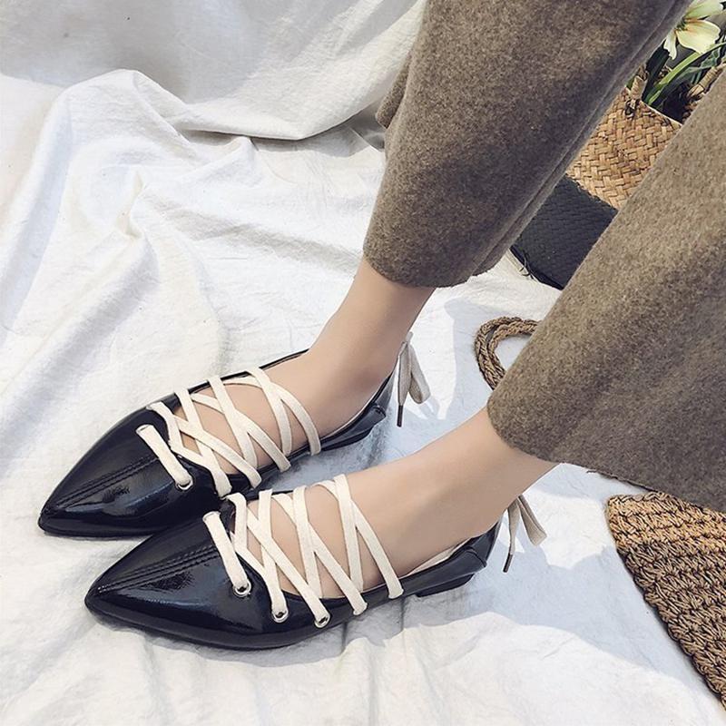 Pointu Plates De Peu Porter 2018 Mode Sauvage Chaussures Des Chaussures noir Femelle Femmes Croisées Beige Profonde Deux Ballet Printemps Bouche Sangles Nouveau wqqWvxIB7