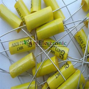 Image 4 - סיטונאי 50 יחידות מוביל ארוך צהוב אלקטרוניקה הצירי פוליאסטר קבלים 0.047 uF 630 V צינור fr amp audio משלוח חינם