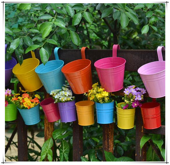 Hot sale wholesale new unique design iron hanging flower pots wholesale new unique design iron hanging flower pots garden plant hanging barrels pastoral balcony decor freeshipping in flower pots planters from home workwithnaturefo