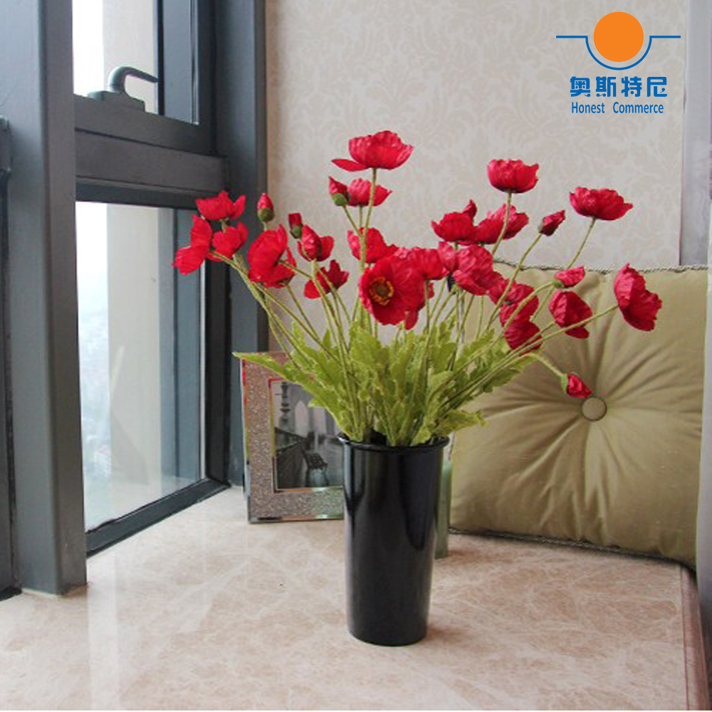Us 12 0 5pcs Artificial Flower Bouquets Red Color Corn Poppy Flowers Papaver Rhoeas Coquelicot Bunches In Dried