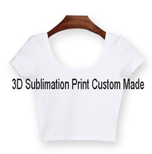 Custom Made Create your own designs 3D Sublimation Print short sleeves Milk Silk Crop Tops(China)