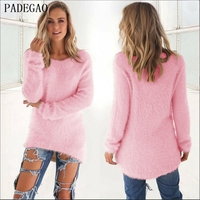 PADEGAO Women Pink Pullover Sweater Jumper Autumn Winter O Neck Long Sleeves Loose Casual Knitted Black