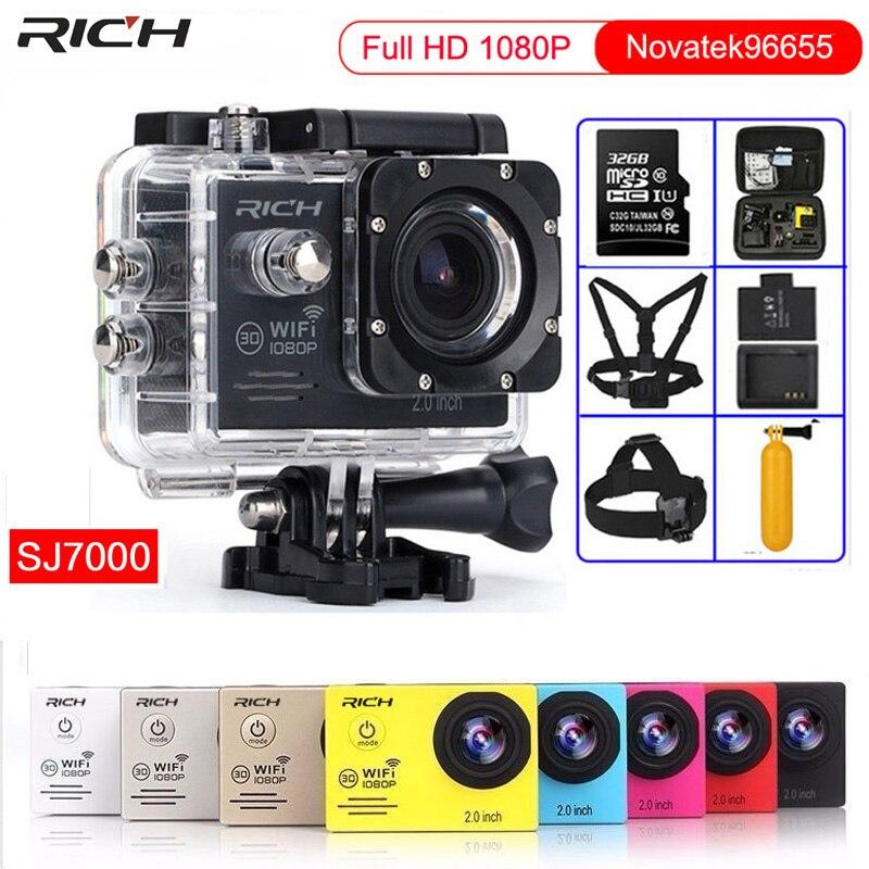 Caméra d'action Novatek96655 HD1080P 30FPS WiFi 170D casque étanche sous-marin caméras d'enregistrement vidéo caméra Sport