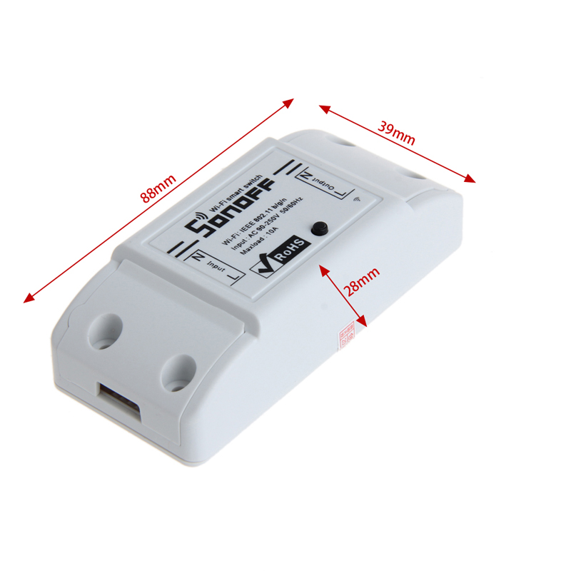 OOTDTY Plastic White 100-250V 10A WiFi Wireless Switch Relay Module Smart Home For Apple Android Smartphones esp 07 esp8266 uart serial to wifi wireless module
