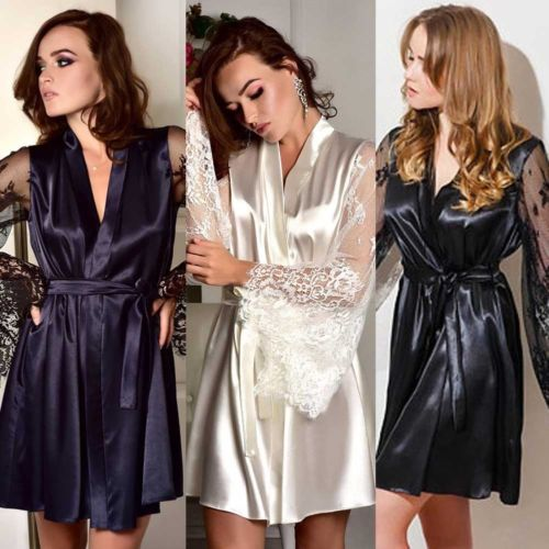 f5c232eacf HIRIGIN Newest Women lace Plain Silk Mini Satin Robes Bridal Wedding  Bridesmaid Bride Gown Kimono Robe Sexy Nighwear-in Robes from Underwear    Sleepwears on ...