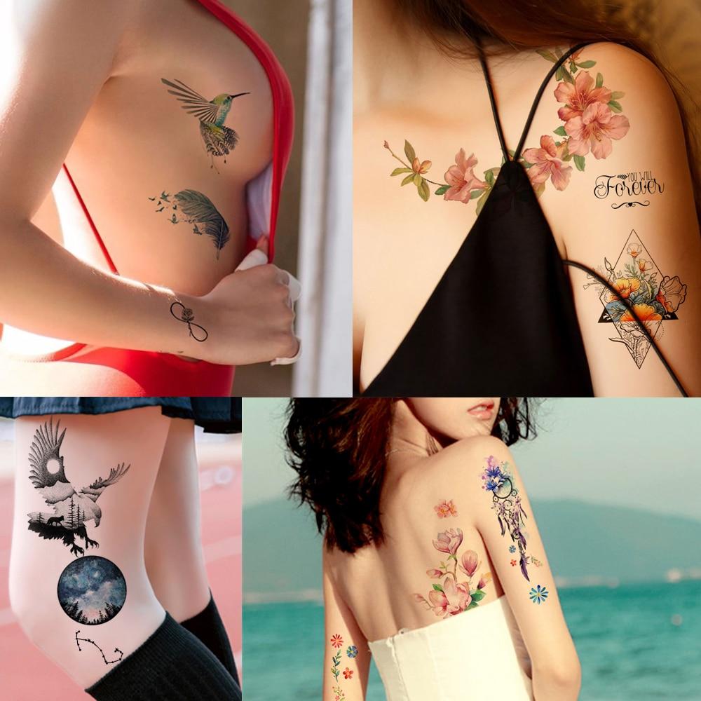 Flower Bird Decal 1pc Fake Women Men DIY Henna Body Art Tattoo Design HB556 Butterfly Tree Branch Vivid Temporary Tattoo Sticker 5