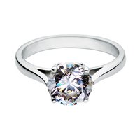 Rings For Women 2 Carat Sona Simulated Diamond Engagement Wedding Solitaire Ring With Accents Sterling Silver