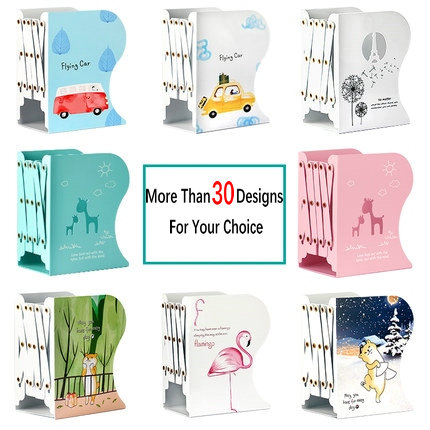 Hot Sell Cute Cartoon Decorative Bookends Metal Adjustable Book Holder Stable Book Stand Office Desk Organizer