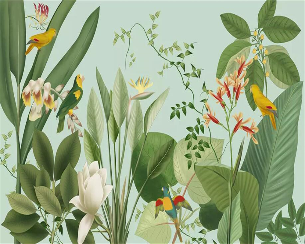 beibehang Custom Mural 3D Wallpaper Southeast Asia Tropical Rainforest Banana Leaf Birds and flowers Background Wall Wallpaper in Wallpapers from Home Improvement