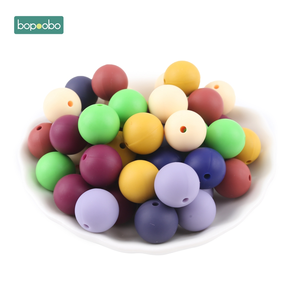 Bopoobo 40pcs New Color Silicone Beads Baby Accessories Round Bead Food Grade Beads Nurse Gift Nurse Beads 12mm Baby Teethers