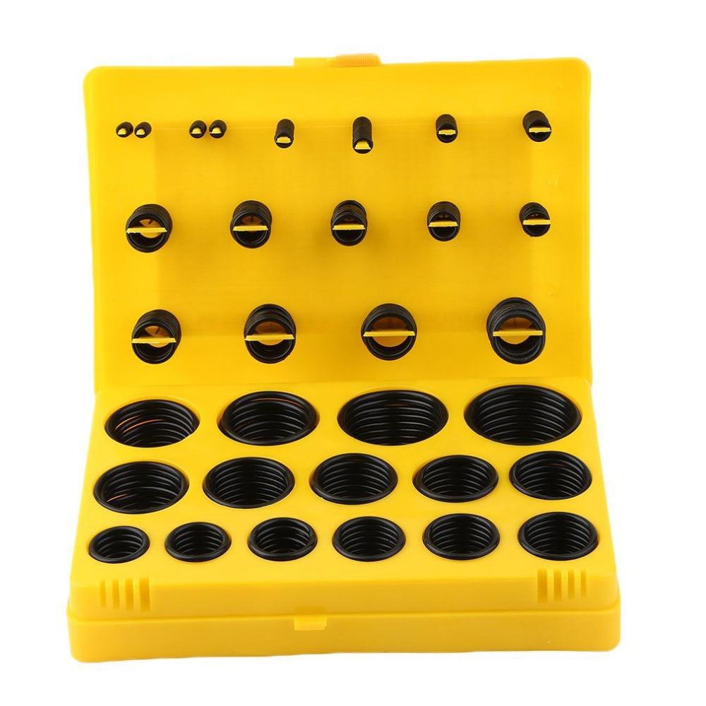 404pcs Rubber O Ring Assortment Seal Plumbing Garage Kit With Case O-Ring Washer Seals Black
