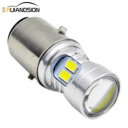 BA20D светодиодный фонарь для мотоцикла 5730 H6 3 Вт 160lm/480lm Высокий/Низкий биксеноновый луч аксессуары мотоциклетная лампа головного света для кв...