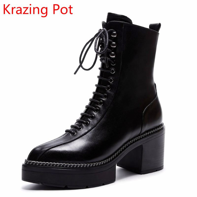 2018 Genuine Leather Streetwear Platform Lace Up Boots High Heels Superstar Pointed Toe Handmade Sweet Women Mid-calf Boots L0f6 2018 new arrival fashion winter shoe genuine leather pointed toe high heel handmade party runway zipper women mid calf boots l11