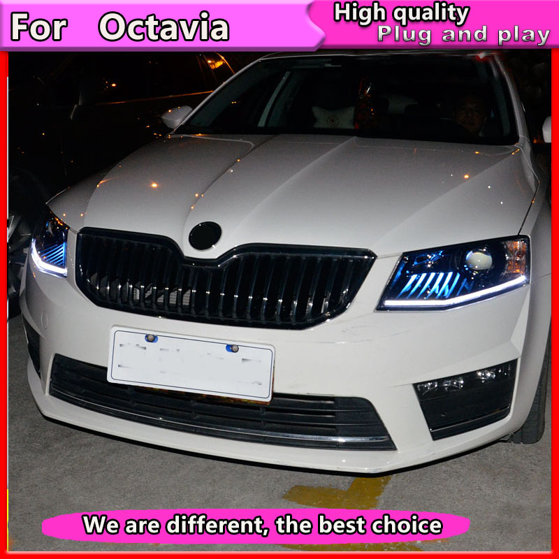 Car Styling For Skoda Octavia Headlights 2014 2017 New Octavia LED Headlight LED DRL Bi Xenon Lens High Low Beam Parking