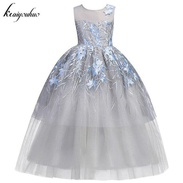 38bc4171d47 Детское свадебное платье подружки невесты с цветочным узором для девочек