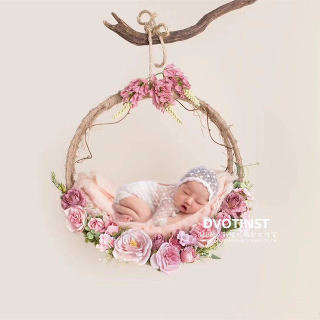 Dvotinst Baby Photography Props Flowers Hanging Basket Decoration Fotografia Accessories Infant Toddler Studio Shooting Photo