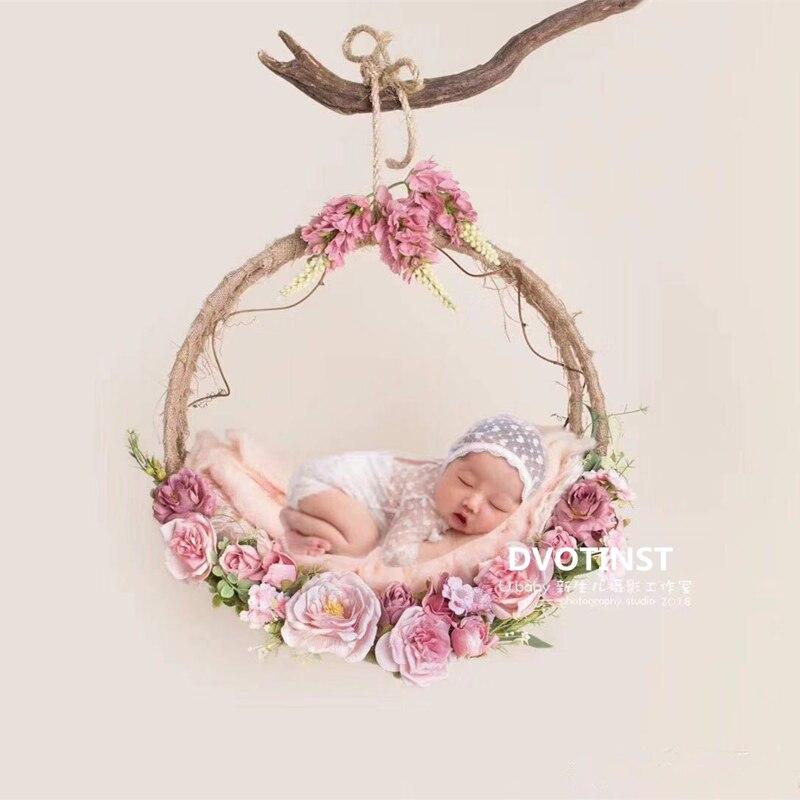 Dvotinst Fotografia Bebê Adereços Decoração de Flores Cesta de Suspensão Acessórios Infantil Criança Estúdio de Fotografia Foto Tiro