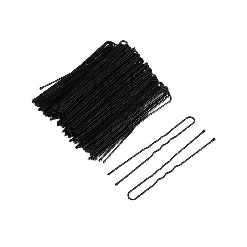Waved U-shaped 50pcs Hair Bobby Pin Barrette Salon Grip Clip Hairpins Black 6CM