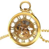 20 cái/lốc Vàng Rỗng Roman Quay Cơ Pocket Watch Skeleton Nam Đồng Hồ Quà Tặng Xem Bán Buôn