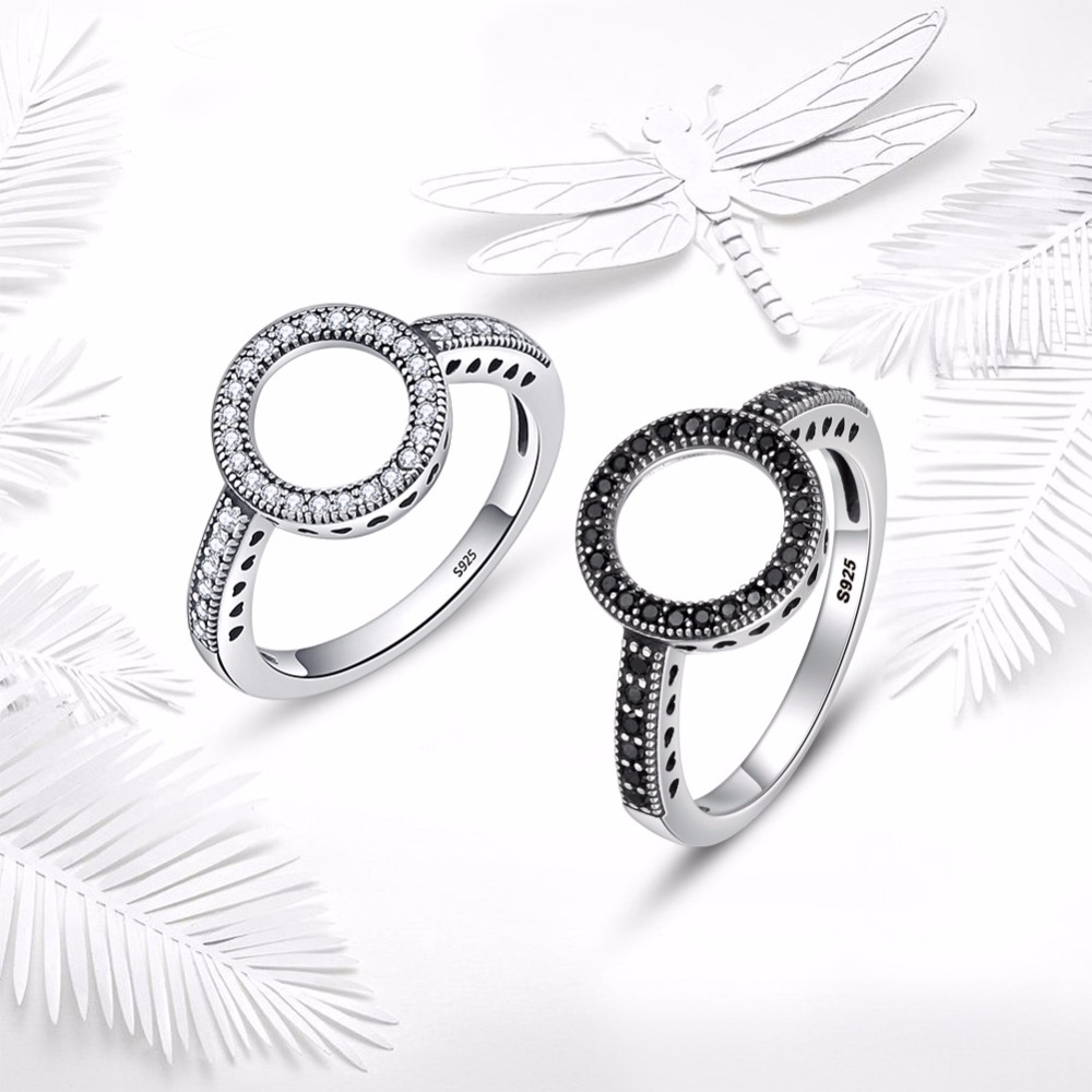 WOSTU 2019 Hot Sale Real 925 Sterling Silver Round Rings Lucky Circle Finger Rings For Women Fashion Wedding Jewelry FIR041