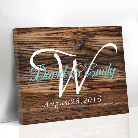 Fashion Wooden Wedding Guest Book Custom Name & Date with Heart Rustic Canvas Guest Book Sign In Signature Book for Anniversary