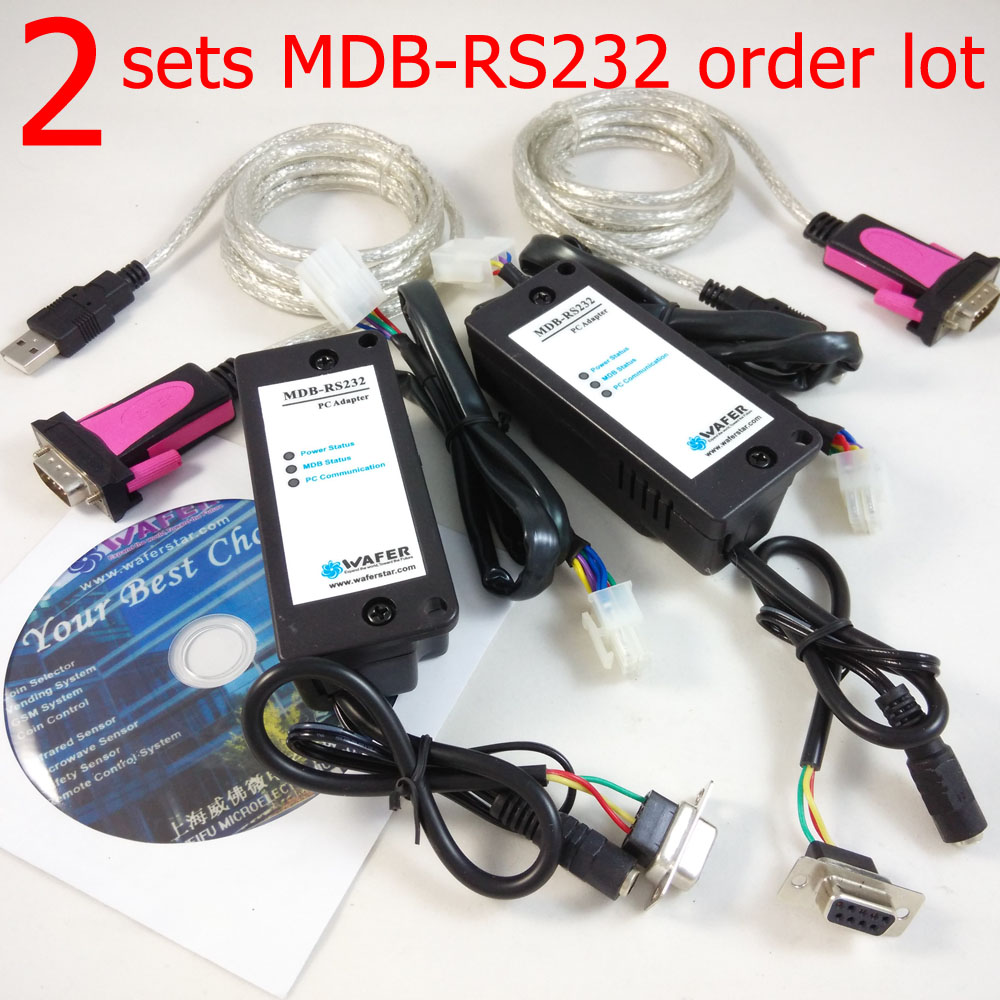 2pcs MDB RS232 Support mdb cashless device,coin validator,bill acceptor and SDK pc program software source code included
