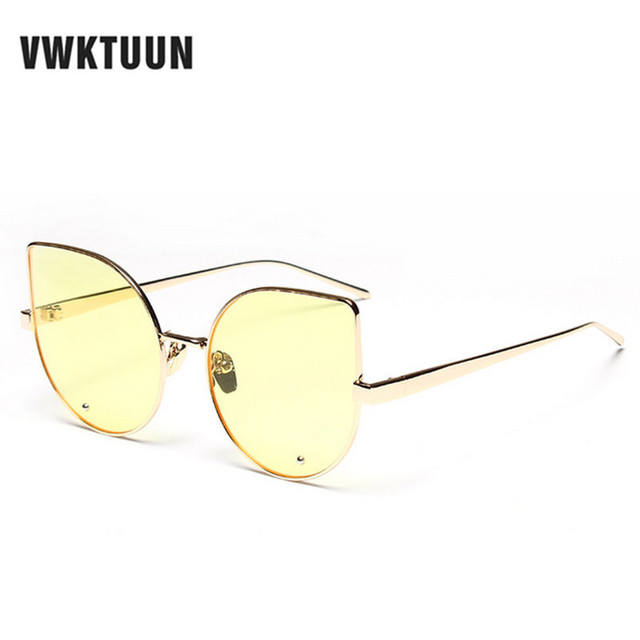 15b1a608b4b VWKTUUN Womens Metal Frame Sunglasses Sexy Cat eyes Sunglasses Women Brand  Designer Mirror Points Retro Sport Sun glass Oculos