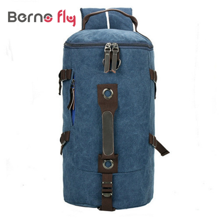 ФОТО 2017 New Men mountaineering backpack casual men bags Solid zipper canvas bucket shoulder bag Large capacity man travel bag