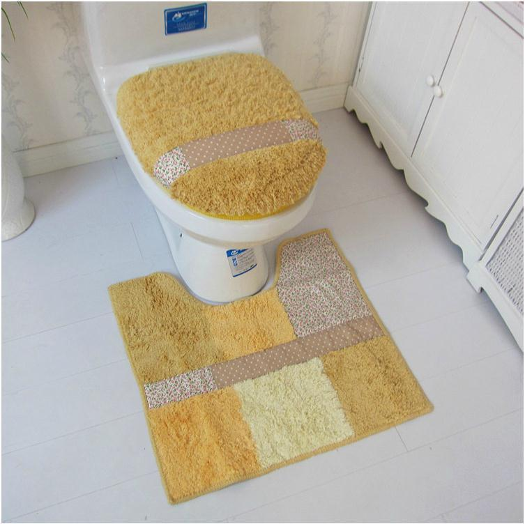 cotton linter bathroom three pieces set toilet lid cover toilet seat cover bathroom carpet toilet mat potty pad ring setin toilet seat cover from home - Bathroom Carpet