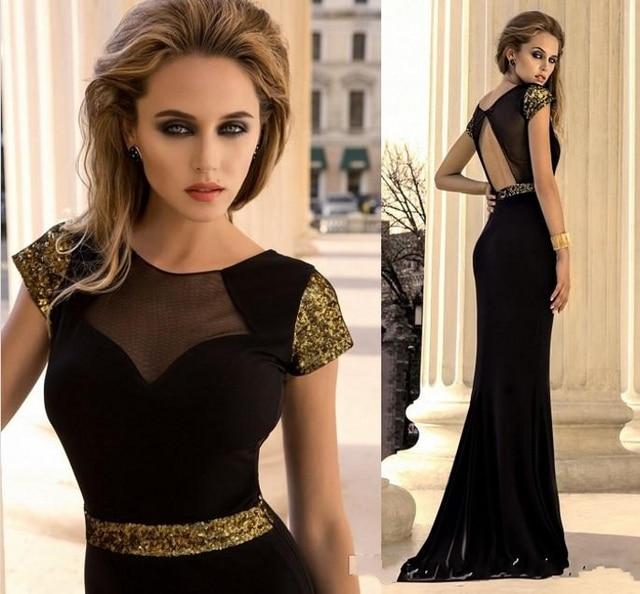 c6133fd3c Negro Sexy en Stock Scoop sirena vestidos de noche dorado de lentejuelas de  baile vestidos de