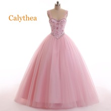 c50072a442d Free Shipping Calythea Luxury Beadings Pink Quinceanera Dresses 2019 Puffy  Ball Gown Beautiful Party Vestidos Sweet