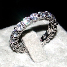 Luxury jewelry Brand 925 SILVER PAVE SETTING FULL AAAAA ZIRCON ETERNITY BAND ENGAGEMENT WEDDING Stone Rings Size 5,6,7,8,9,10