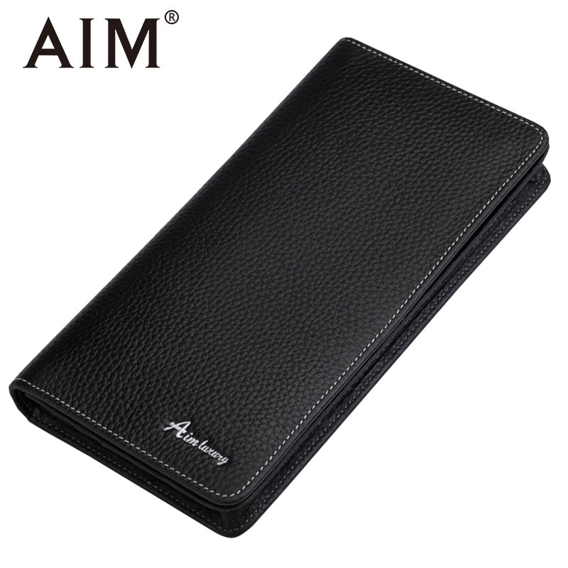 AIM High Quality Genuine Leather Black Wallets for Men Brand Design Business Men Long Wallet Male Credit Cards Holder Coin Purse 2014 fashion genuine leather men wallets business style long wallet high quality credit coin purse solid soft letter male pouch