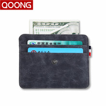QOONG 2018 New Buckle Wallet Credit Card Wallet Mini Slim Wallet Card & ID Holders Man Women Business Credit Card Holder KH1-032 raika sf 228 tan credit card wallet tan