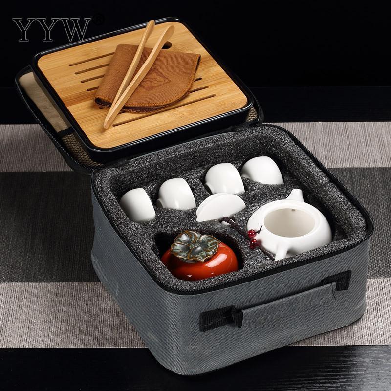 Céramique Puer thé ensembles 3 couleurs thé cérémonie cadeau argile théières accessoires Teaware Celadon thé plateau ensemble élégant Drinkware - 5
