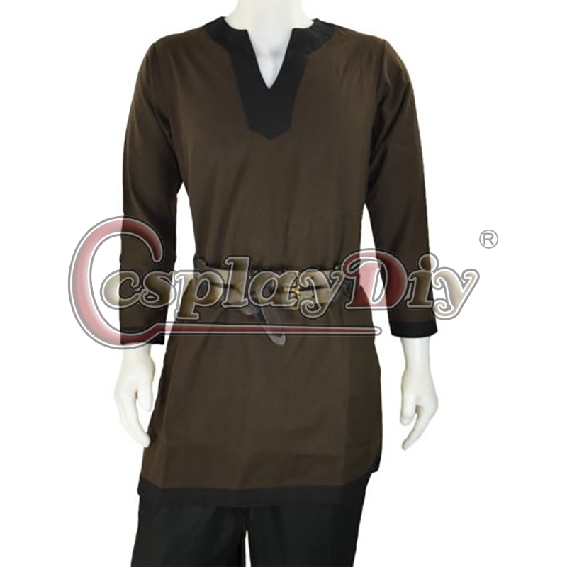 Cosplaydiy Medieval Men Costume Brown Fantasy Viking Norseman Lotr Men s All Period Shirt Tunic Clothing
