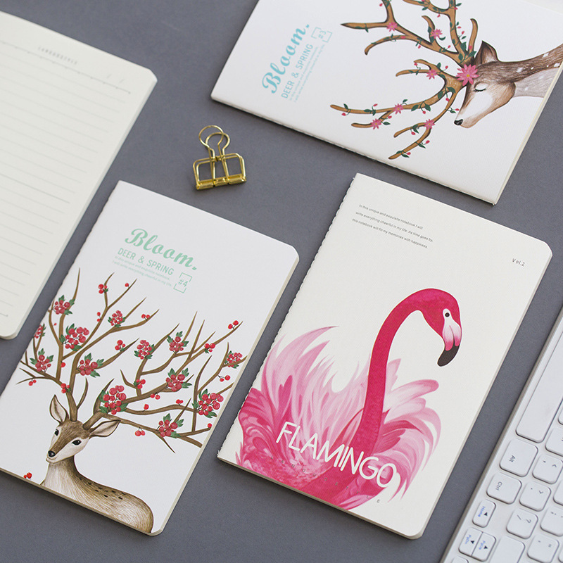 Fromthenon Flamingo Deer Notebook Bullet Journal Line Paper A5 Journal Student Exercise Book School Supplies Kawaii Stationery