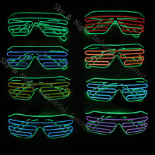 LEDLighting Double Color Glow LED EL Glasses Wire sunglasses Light Up Shades Flashing Rave Festival Party Bright Glasses New Top