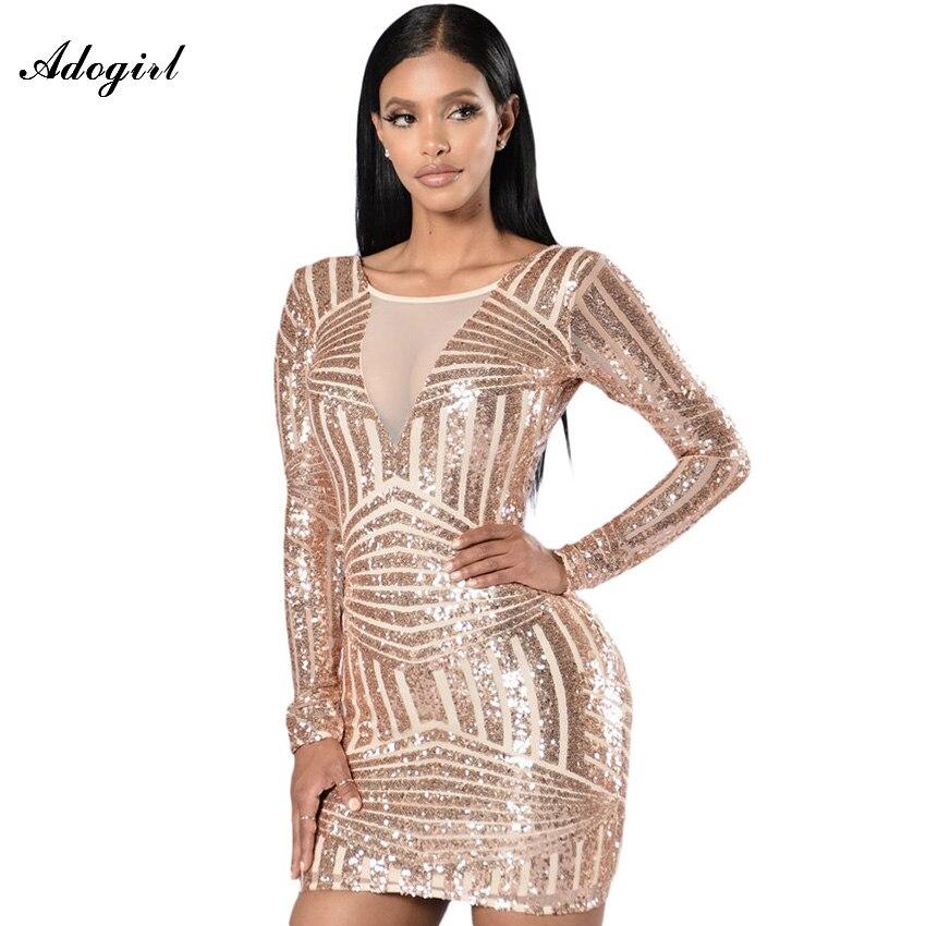 Buy Cheap Adogirl Sexy Women Backless Vintage Nude Open Back Long Sleeve Sequin Dress Fashion Nightclub vestidos Bodycon Clubwear Dresses