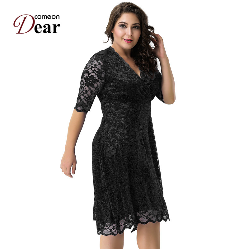 cd96881a3bf02 US $25.75 22% OFF|Comeondear RA80329 Plus Size Surplice Formal Skater Dress  V Neck Lace Half Sleeve A line Dresses Autumn Casual Vestido De Renda-in ...